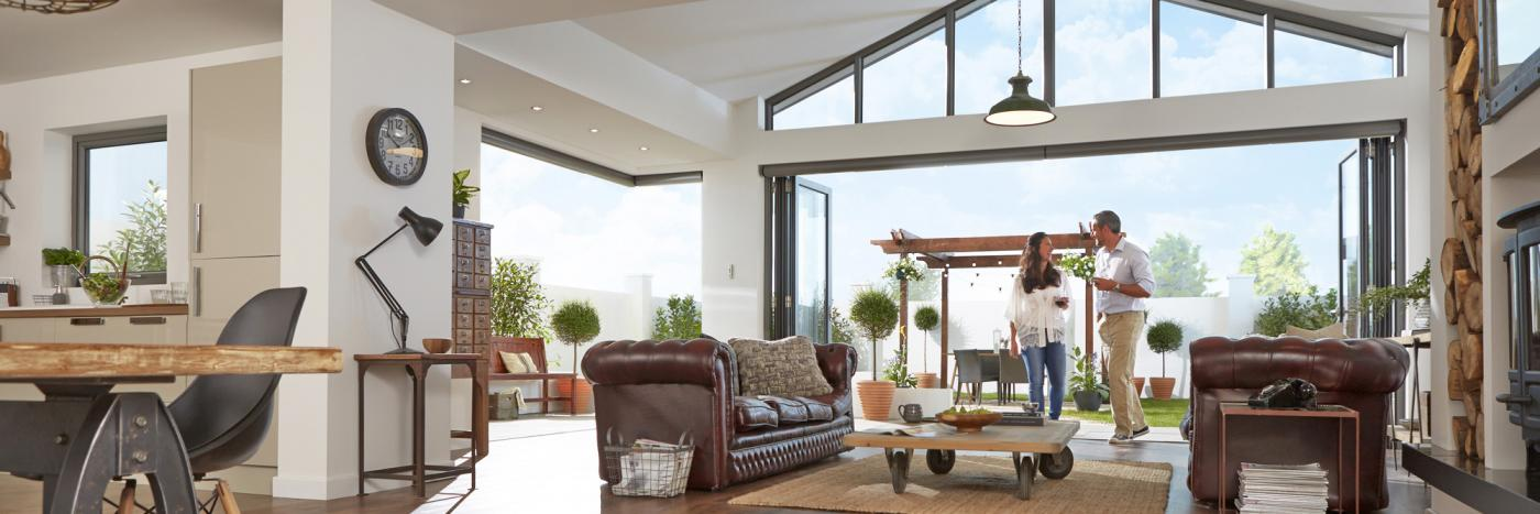 Cheer up a dull and gloomy home with a set of  bi-folding doors